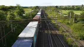 Overhead view of Cargo Train on Railway Tracks stock video