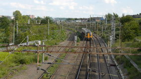 Overhead view of cargo train on railway tracks stock footage