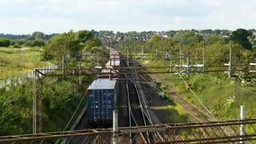 Overhead view of cargo train on railway tracks stock video footage