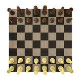 Overhead view of a chess board set up for a game Royalty Free Stock Photography