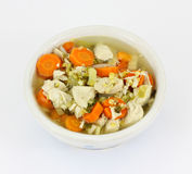 Overhead View Chicken Soup Bowl Stock Photo