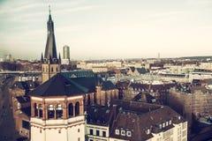 Overhead view of City Dusseldorf, Germany. Cross processed image Stock Image