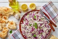 Overhead view of tasty Lebanese Cabbage salad stock photography