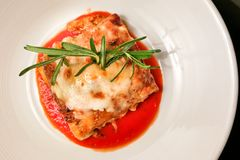 Overhead view of closeup of fine dining italian lasagna. Closeup overhead view of fine dining italian lasagna served on elegant style Stock Photos