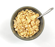 Overhead View Coated Flake Cereal. An overhead view of nicely coated breakfast flakes Stock Images