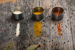 Overhead view of Colourful dried ground spices Royalty Free Stock Image