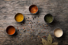 Overhead view of Colourful dried ground spices Royalty Free Stock Images