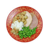 Overhead View Cooked Turkey Dinner Royalty Free Stock Photos