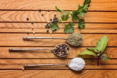 Overhead view of cooking ingredients, spices, herds stock photo