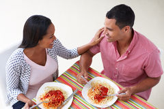Overhead View Of Couple Eating Meal Together Stock Photography