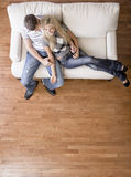 Overhead View of Couple on Love Seat Royalty Free Stock Photos