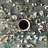 Overhead view of cup of black coffee and white flowers and branches  on white background Stock Image