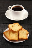 Overhead view-Cup coffee, rusks, stock images