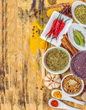 Overhead view depicting cooking with spices. Royalty Free Stock Images
