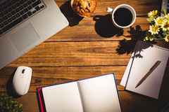 Overhead view of an desk Royalty Free Stock Image