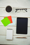 Overhead view of an desk Royalty Free Stock Photography