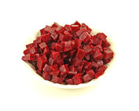 Overhead view diced beets Royalty Free Stock Photo