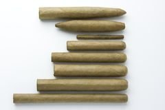 Overhead view of different cigars Stock Photography