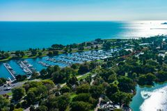 Overhead View of Diversey Harbor and Lake Michigan during the Morning in Chicago royalty free stock images