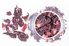 Overhead view of dried hibiscus tea leaves Stock Photos