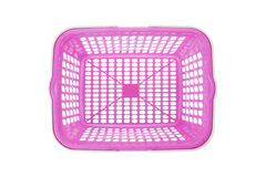 Overhead view of empty pink plastic shopping basket Royalty Free Stock Images