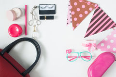Overhead view of essential beauty items, Top view of party acces Stock Photo
