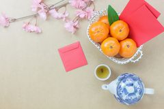 Overhead view of essential items Chinese & Lunar new year background. Concept.Orange and difference items for festive season.Variety objects on the modern royalty free stock photo