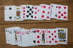 Overhead view of fanned out cards Stock Images