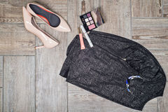 Overhead view of female fashion with accessories. Stock Photo