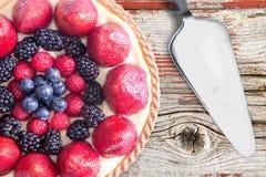 Overhead View of Fresh Berries Tart. Stock Images