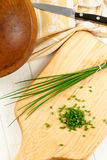 Overhead View of Fresh Chopped Chives Stock Photography