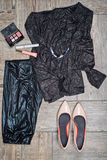 Overhead view of girl's fashion with accessories. Royalty Free Stock Images