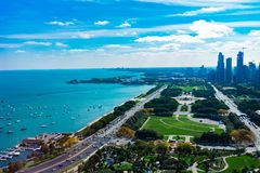 Overhead View of Grant Park Lake Shore Drive and Lake Michigan in Chicago stock photo