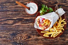 Overhead view of greek souvlaki, flat lay stock images
