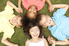 Overhead View Of Group Of Smiling Children Stock Images