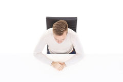 Overhead view of a handsome guy in office. Business and office c. Oncept Royalty Free Stock Photography