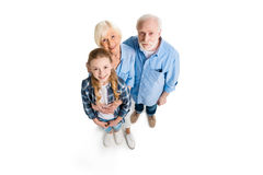 Overhead view of happy grandfather, grandmother and grandchild hugging and looking at camera royalty free stock image