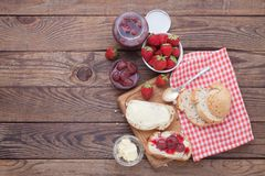 Overhead view on healthy breakfast with strawberry jam Stock Image