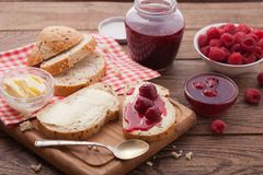 Overhead view on healthy breakfast with strawberry jam Royalty Free Stock Images