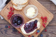 Overhead view on healthy breakfast with strawberry jam Royalty Free Stock Image