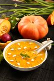 Overhead view - Healthy vegan diet food - Delicious pumpkin soup royalty free stock photography