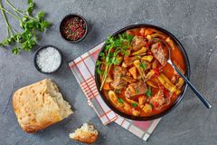 Overhead view of hearty Beef and Okra Stew stock images