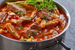 Overhead view of hearty Beef and Okra Stew stock photo