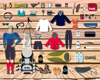 Overhead view of hiking gear laid out for a backpacking trip on a rustic wood floor. Backpack shop vector Stock Images
