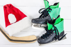 Overhead view of hockey ice skates accessories placed on white w Royalty Free Stock Photo