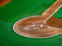Overhead view of home plate portion of a baseball field. At night Stock Image