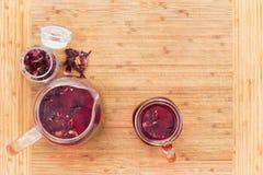 Overhead view of hot hibiscus tea in glass Stock Image
