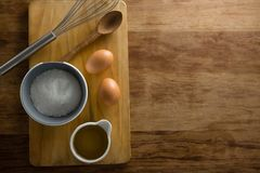 Ingredients on chopping board. Overhead view of ingredients on chopping board Stock Images