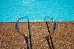 Overhead view of inviting aqua swimming pool  steps Stock Images