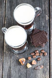 Overhead view on irish coffee with dark chocolate Stock Photo